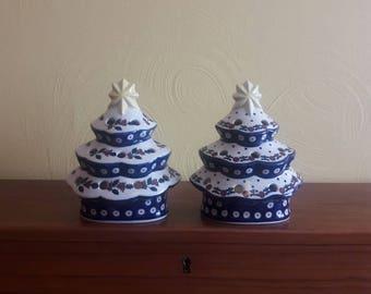 "One (1) Boleslawiec Poland Pottery Christmas Tree Tea Light - 8-1/4""H X 6-1/2""D - Polish Pottery - Signed J. Kociol - Excellent Condiiton"