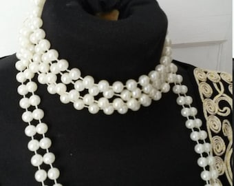 Free postage, Costume pearl necklace, bridal, wedding, gatsby party, 20s, 30s style string of pearls, birthday, present, ladies jewellery