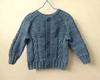 Hand knit baby sweater, knitted baby cardigans, blue baby boy cardigan, baby knitwear size 4 months, baby boy sweater, baby gift