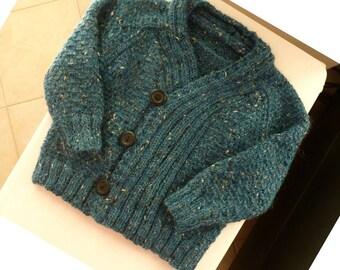 Hand knit baby boy tweed cardigan, deep teal cardigan, warm Winter sweater for baby boy 6 to 12 months, knitted wool alpaca baby cardigan