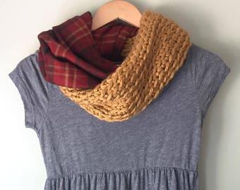 Plaid Scarf / Blanket Scarf / Flannel Scarf / Crochet Scarf / Infinity Scarf / Mustard Scarf / Red Scarf / Gold Scarf