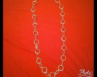 """37"""" Loop Silver Necklace"""