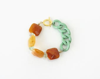 Fresh Bold Statement Bracelet, Burnt Yellow Quartz Stone with Sea Green Big Chain