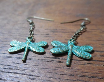 Copper Patina Dragonfly Earrings