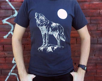 Vintage Howling Wolf and Moon T-shirt M *Screen Stars Best*