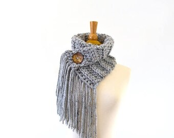 SALE Fringed Chunky Scarf Cowl Neckwarmer with One Natural Coconut Shell Button | The Geneva