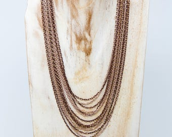 Multi Strand Necklace | Multi layered necklace | Rose Gold necklace | Short Necklace | Multi chain necklace | Gift idea | Gift for her|