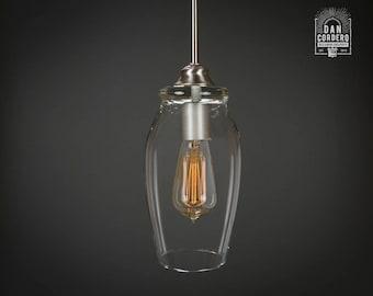 Pendant Light Fixture | Edison Bulb | Brushed Nickel | Pendant | Kitchen Light | Pendant Light |  Edison Light Bulb | Eggplant Shade