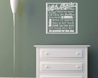 Lake Rules Square Vinyl Wall Decal Quote L216