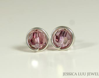 Pink Swarovski Crystal Stud Earrings Wire Wrapped Jewelry Sterling Silver Earrings Swarovski Crystal Jewelry Rose Gold Earrings