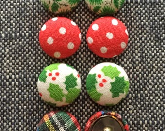 Fabric Button Earrings / Merry Christmas / Bulk Jewelry / Stocking Stuffer / Hypoallergenic Earrings / Small Gifts / Wholesale