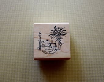 Candles Teapot Flowers Rubber Stamp by Art Impressions, Table Top Decor