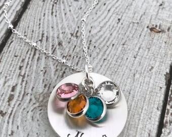 Birthstone Necklace for Grandma, Nana Necklace, Gold Birthstone Necklace, Grandmother Necklace, Gift for Grandma, Birthstone Jewelry