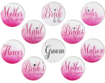 Large Size Bridal Party Buttons - Ombre Flower Girl Button, Bridal Party Pins, Bridal Shower Pin, Wedding Party Buttons