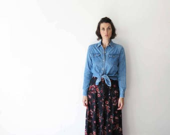 90s vintage button up skirt// black floral long skirt// medium