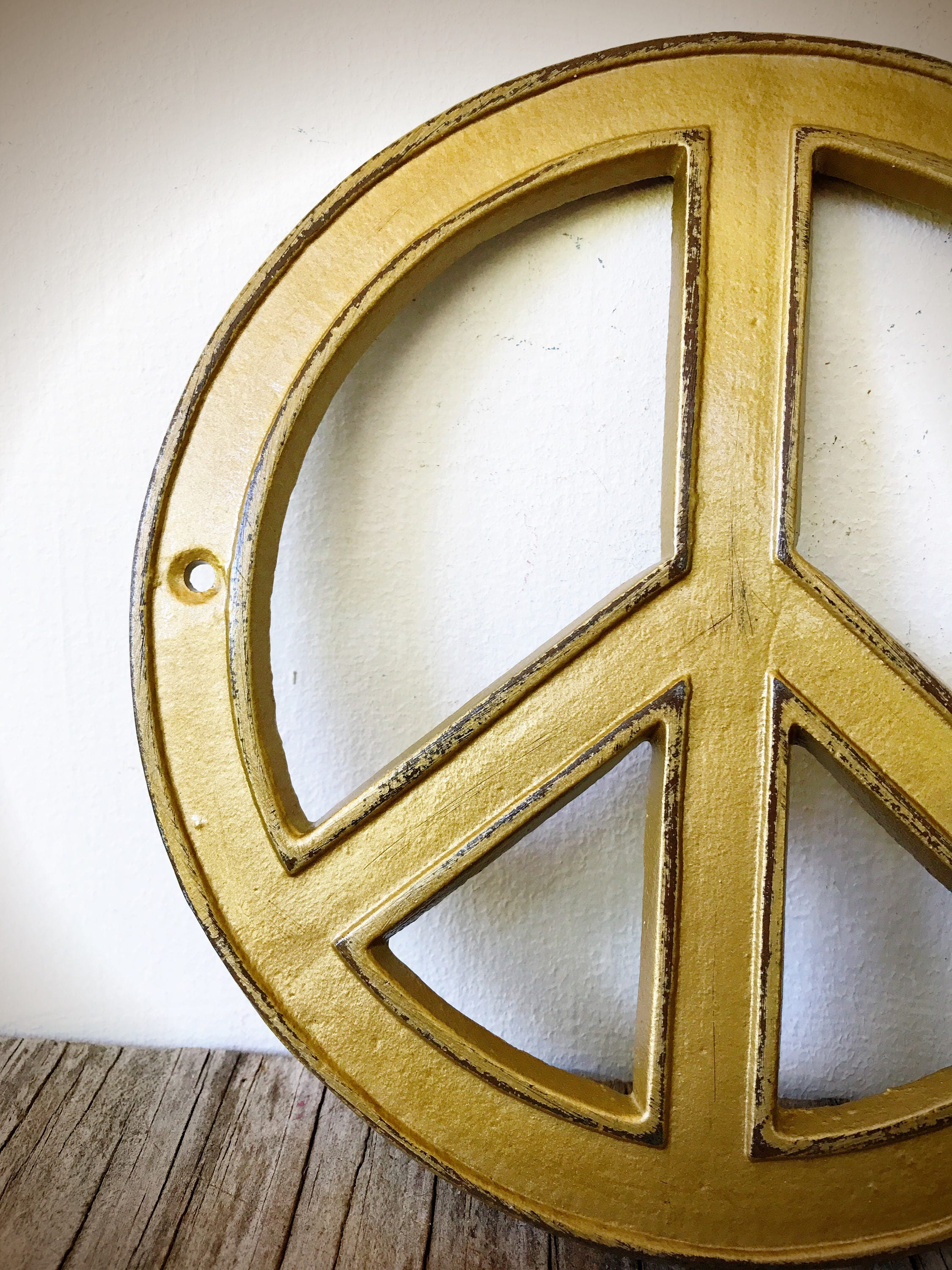 Gold Boho Decor / Peace Sign Wall Art / Boho Nursery Decor / Vintage ...