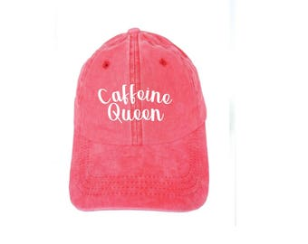 Caffeine Queen Dad Hat Coral and White or Your Color Choice