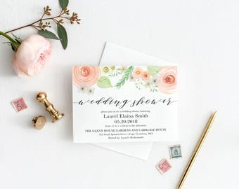 Printable Invitation - Vintage Floral Blush Bridal Shower Invitation, Wedding Shower Invitation, Baby Shower, Blush, Peach, Calligraphy