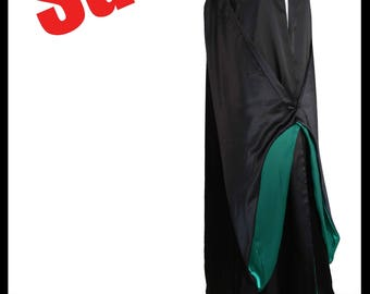 Beautiful Black Countess Satin Sleeved Cloak Medieval Green Lining LARP Cosplay Comic Elven Unisex NEW SALE! Immediate Dispatch!