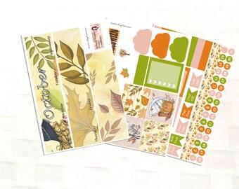 October Monthly View Hello Autumn Planner Sticker Kit, Vinyl Stickers, Leaves, Erin Condren Sized