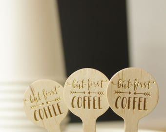 but first coffee drink stirrers in Gold foil