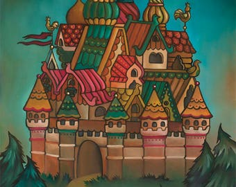 Northern Castle 14x18 Oil Painting Russian Fairy Tales