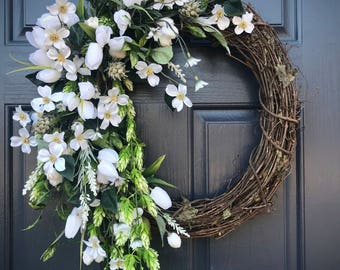 White Wreath, Wedding Wreaths, Memorial Wreath, White Door Wreath, Spring Wreaths, White Door Decor, Gift for Her, Mother's Day, Fun Wreath