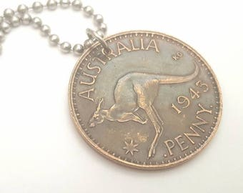 1943 Australian Coin Necklace with Kangaroo - Stainless Steel Ball Chain or Key-chain