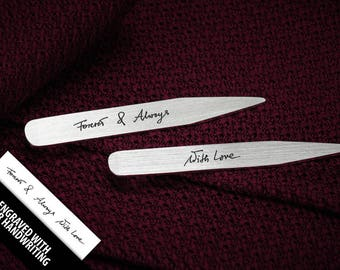 Engraved Collar Stays sterling silver - Personalized collar stays - Handwriting jewelry for men