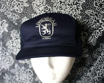 Vintage Lowenbrau Beer Baseball Cap. Blue Hipster Prepper Beer Drinker Hat. Rare German Beer White Hat. Weekend Beach Drinking Party Hat