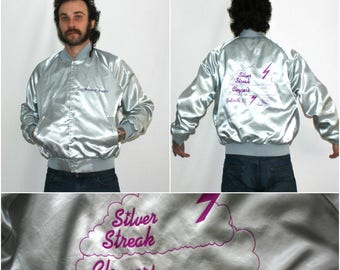 Retro Vintage Satin Shiny Silver Jacket. Silver Streak Cloggers Retro 80s Lightweight Hip Hop Coat.  80s Or 90s Old Lady Grandma Jacket