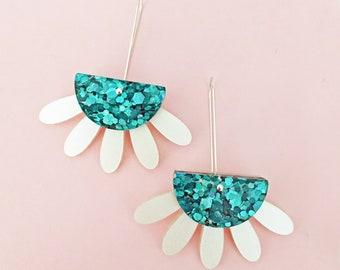 Ocean Goddess dangle drop earrings - mermaid glitter and white pearl