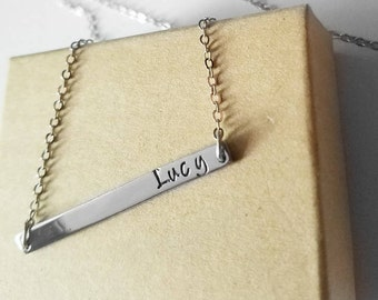 Personalized Name Bar Necklace - Name plate Kids statement Necklace -Flower Girl bridal shower gift