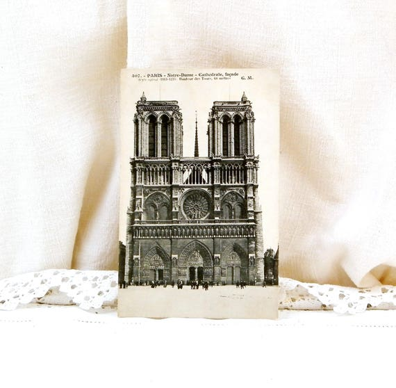 Antique French Black and White Postcard of the Cathedral Notre Dame in Paris, Photograph of Parisian Monument,Old French Card, Deltiology