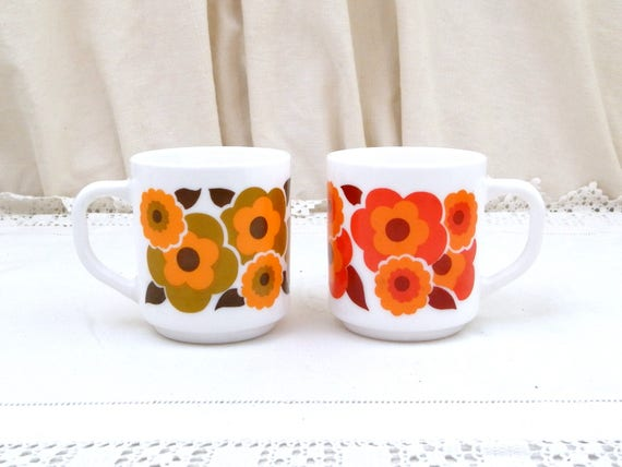 2 Vintage Arcopal Mid Century French White Milk Glass with Orange, Red and Green Retro Flower Pattern Coffee Mugs, Pair 1960s / 1970s Cups