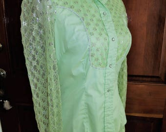 1960's Miller Western Wear green shirt.