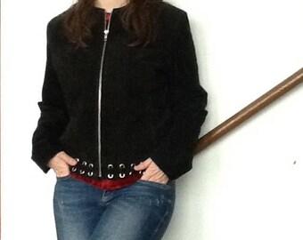 Black suede eyelet jacket,Retro,Rocker,Bohemian