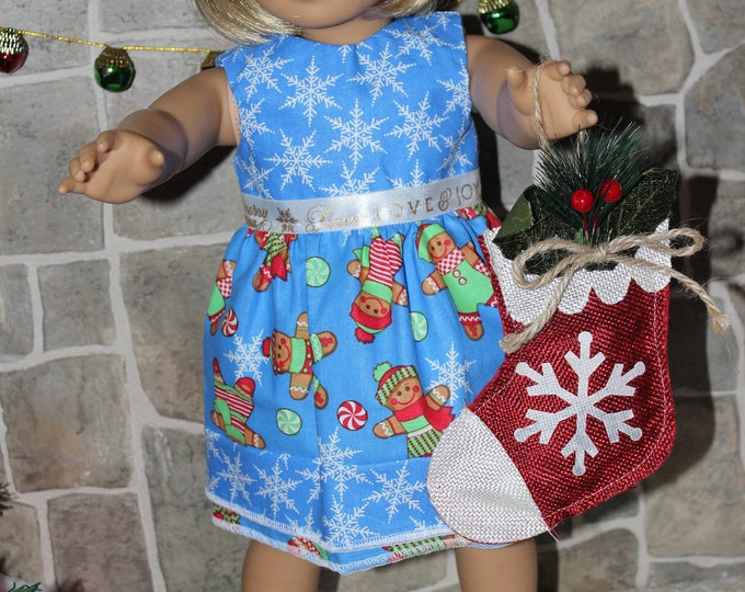 Blue Christmas Print Dress,Ribbon,Blue Sandals made to fit Dolls likes of American Girl,Our Generation and other 18 inch dolls,FREE SHIPPING