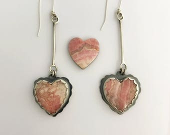 Romantic Heart Earrings for Her, Rhodochrosite Jewerly, Sterling Silver Dangle Earrings, One Of A Kind Gifts For Special Day, Handcrafted