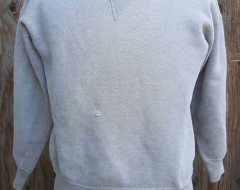 Vintage 1950's V Panel Cotton Sweat Shirt // Terry Cloth // Towel // Athletic // Jock // Bac to School // Sports // Comfortable // Football