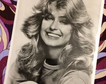 1970s Farrah Fawcett 8 x 10 Glossy Photograph, Black and White Photo, Vintage Photography, Sex Symbol Pin Up Girl