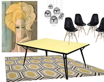 mid century dining table   retro 60 u0027s yellow and black laminate kitchen table vintage kitchen table   etsy  rh   etsy com
