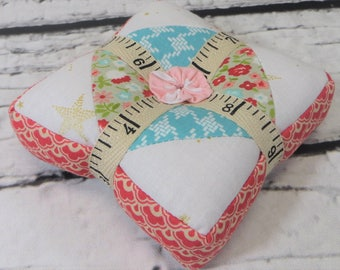 Handmade pincushion pieced quilted square pin cushion sewing notion ground walnut shells quilting notion ready to ship free shipping