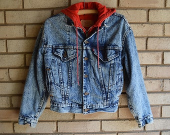 Vintage Levis Acid Washed Jean Jacket with Attached Hoodie XS