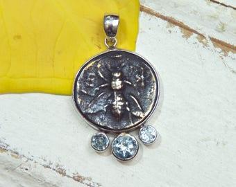 Honeybee Bee Pendant Necklace - Rustic - Blue Topaz Gemstones -  Sterling Silver - coin pendant
