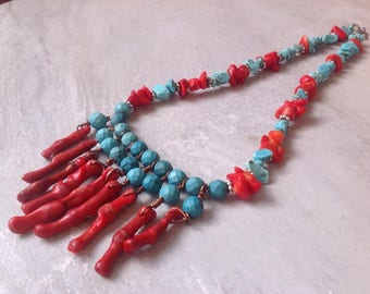 Red Bamboo Coral Turquoise Jasper Necklace