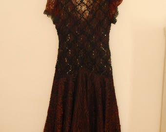 Burgundy and Black Lace Dress with Sequins - 1980s