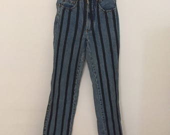 High-Waisted Jeans with faux Leather Stripes - 1980s