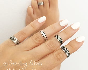 Sterling Silver Midi Ring • Toe Ring •  Foot Jewelry • Sterling Silver Toe Ring • Boho Ring • Pinky Ring • Adjustable Toe ring