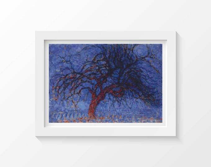 Cross Stitch Pattern PDF, Embroidery Chart, Scenery Cross Stitch, Evening Red Tree by Piet Mondrian (PIET02)